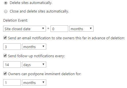 SPO_SitePolicyDeleteAutomatically